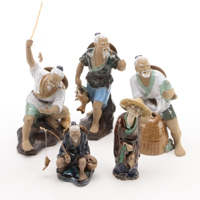 Chinese Glazed Ceramic Fishermen Figurines, Mid to Late 20th Century