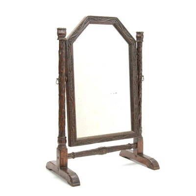 Hand Carved English Oak Shaving Mirror, Late 19th to Early 20th Century