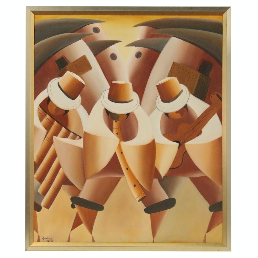 Peruvian Abstract Acrylic Painting of Musicians