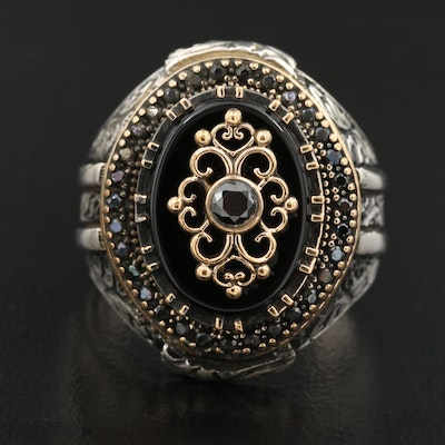 Sterling Silver Black Onyx and Cubic Zirconia Ring with Scrollwork Accents