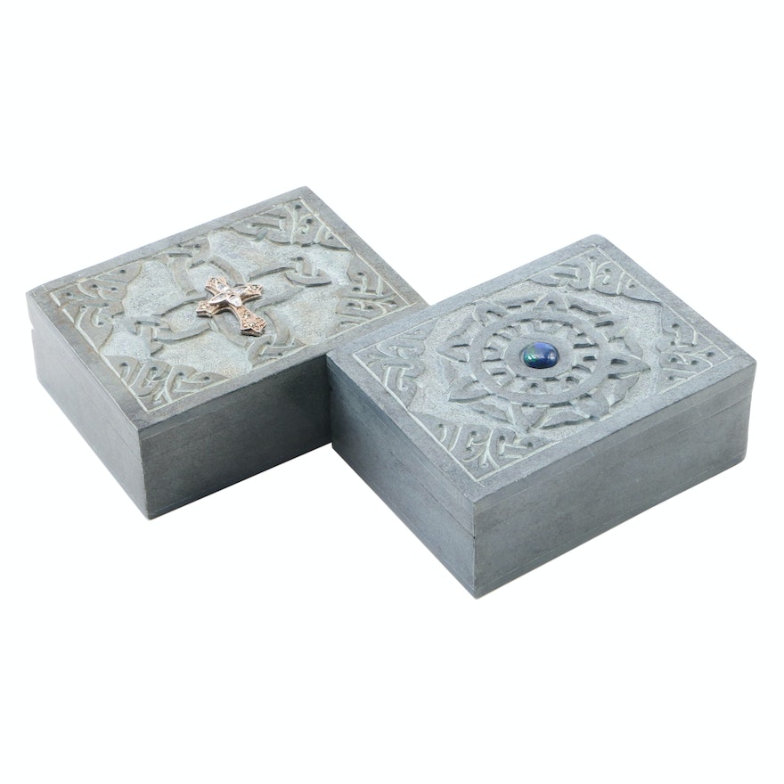 Two Polished Slate Boxes with Celtic Knot Carved and Hinged Lids