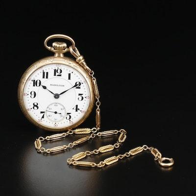 1921 Hamilton Railroad Grade Gold Filled Pocket Watch