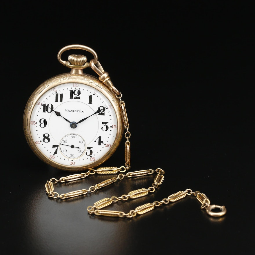 1921 Hamilton Railroad Grade Gold Filled Pocket Watch