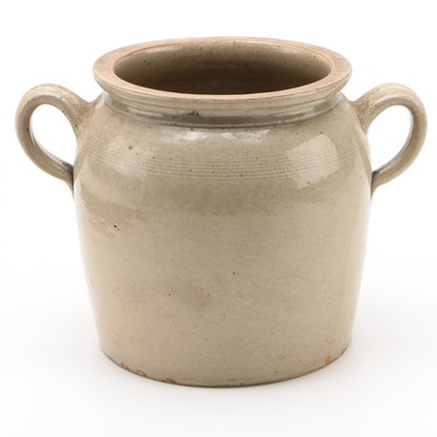 Salt Glazed Stoneware Four Quart Open Loop Handled Crock, 20th Century