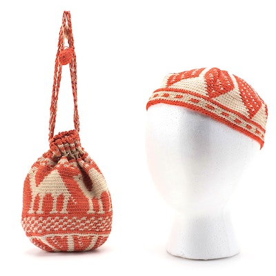 North African Style Crochet Kufi Hat and Drawstring Purse