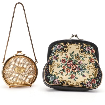Needlepoint and Metal Coin Purses with Kiss Lock Clasps, Vintage