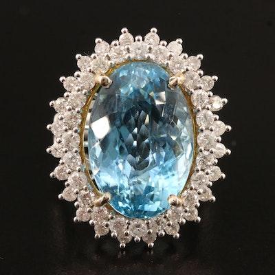 14K 15.33 CT Aquamarine and 2.14 CTW Diamond Ring