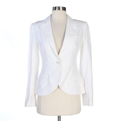 Dolce & Gabbana Off-White Cotton Linen Blazer
