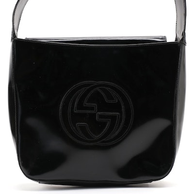 Gucci GG Shoulder Bag in Glazed Black Box Calf Leather