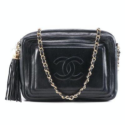 Chanel Black Leather Logo and Tassel Shoulder Bag