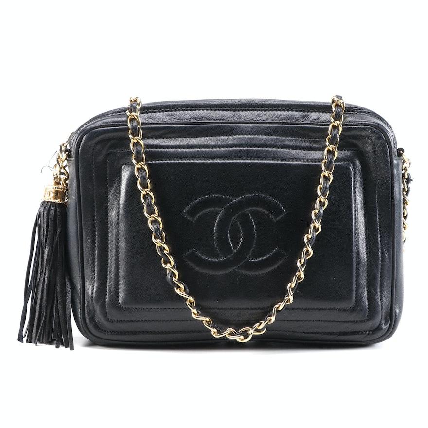 Chanel Black Leather Logo and Tassel Shoulder Bag
