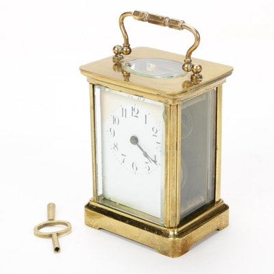 French Brass Carriage Clock, 19th Century