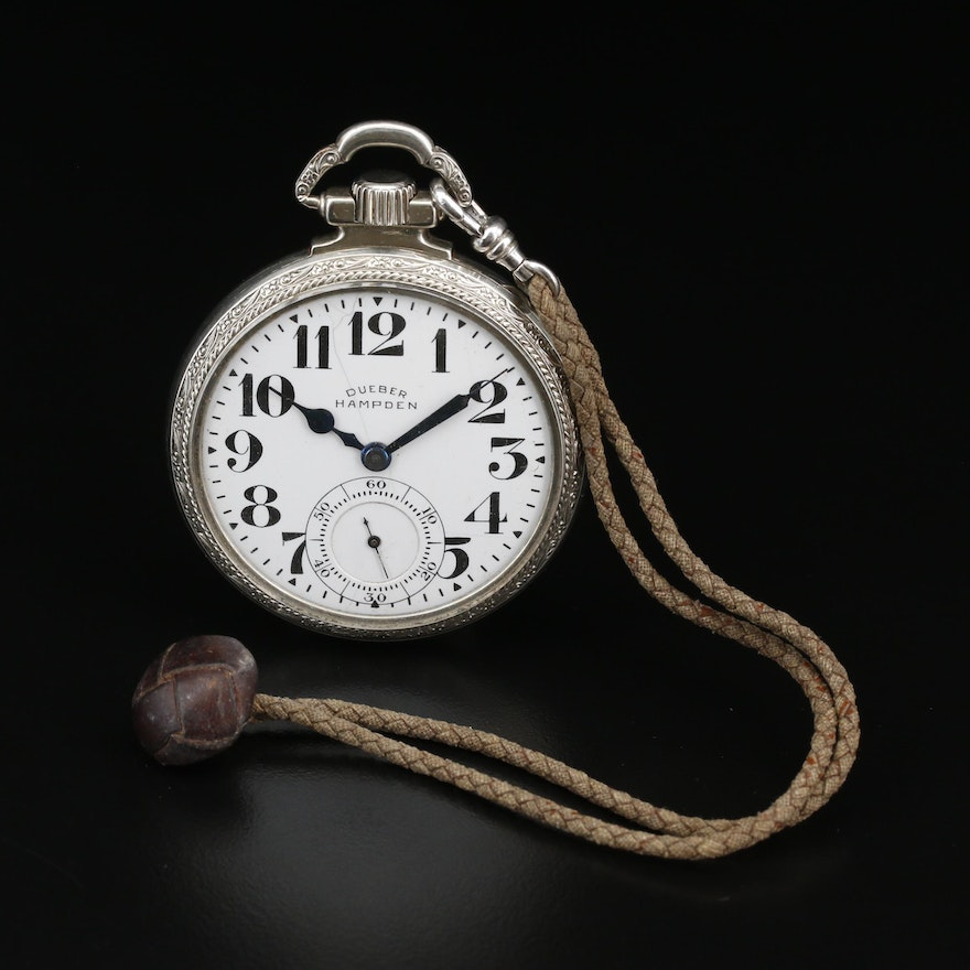 1915 Dueber Hampden Railroad Grade Pocket Watch with Braided Rope Fob