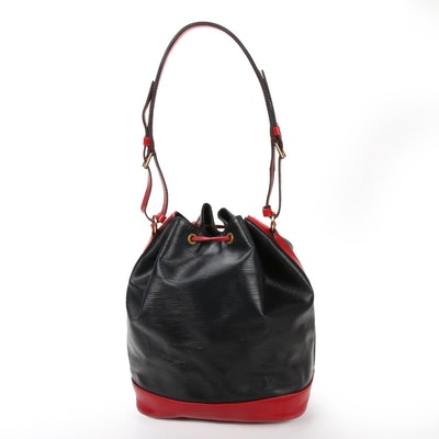 Louis Vuitton Noe Bucket Bag in Black Epi and Red Leather