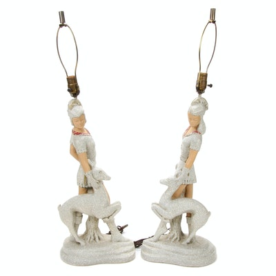 Pair of Colonial Art Creations Medieval Lady Figural Plaster Table Lamps, 1954