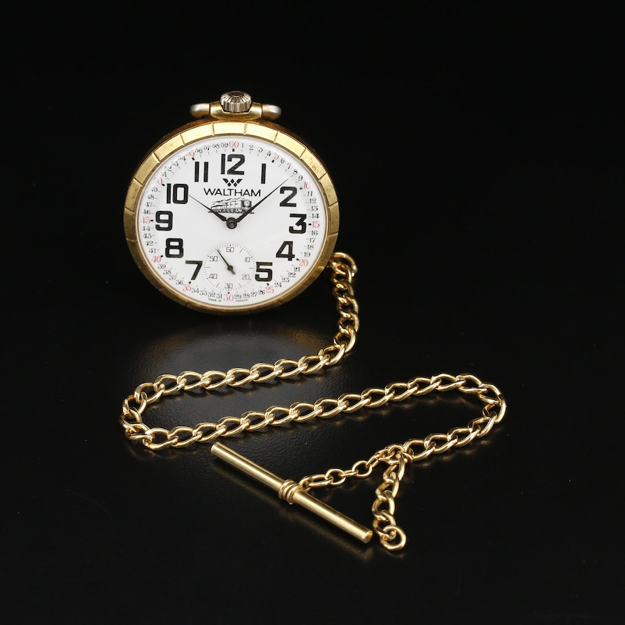 French Made Waltham Pocket Watch With Chain Fob
