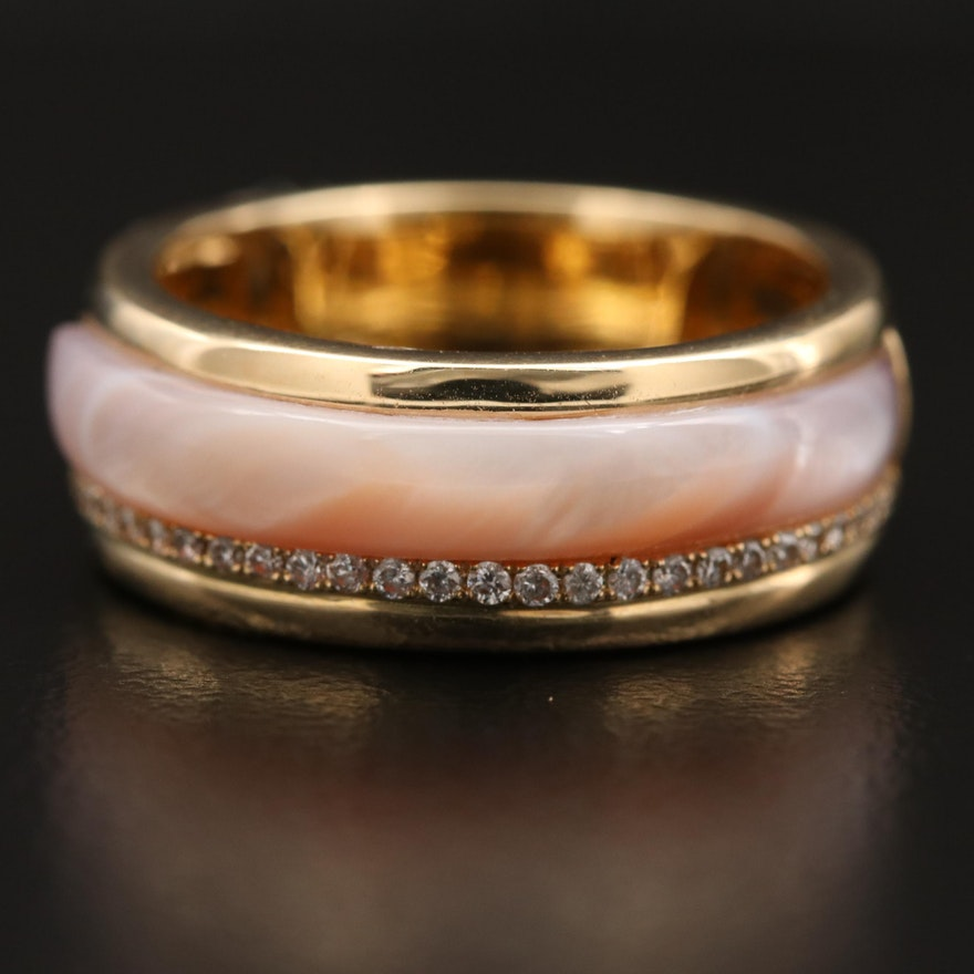 14K Mother of Pearl and Diamond Band