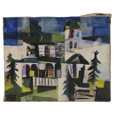 Thomas Greenbank Oil Painting of Abstract Victorian House