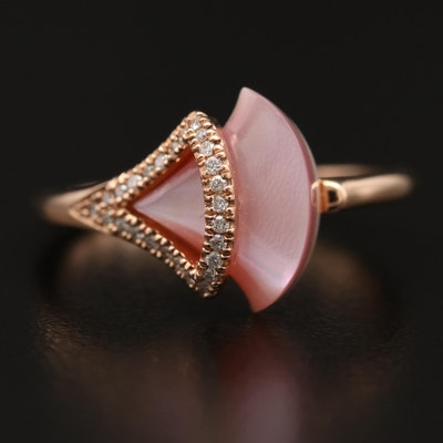 14K Diamond and Mother of Pearl Shell Fan Ring