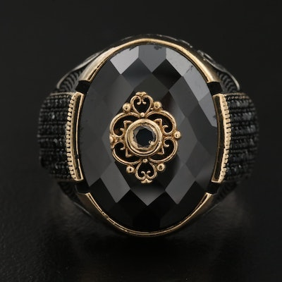 Sterling Spinel and Black Onyx Ring