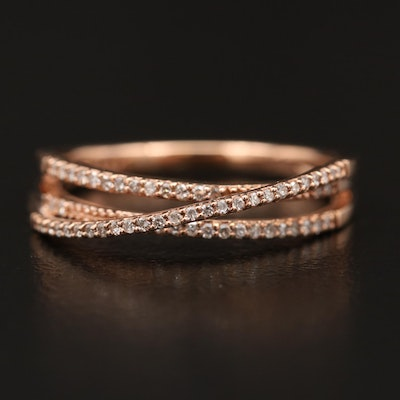 14K Rose Diamond Crossover Ring