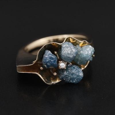 18K Diamond Stylized Flower Ring
