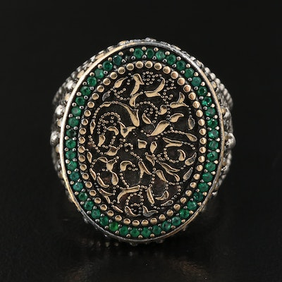 Sterling Silver Cubic Zirconia Ring Featuring Granulation and Scrolling Designs