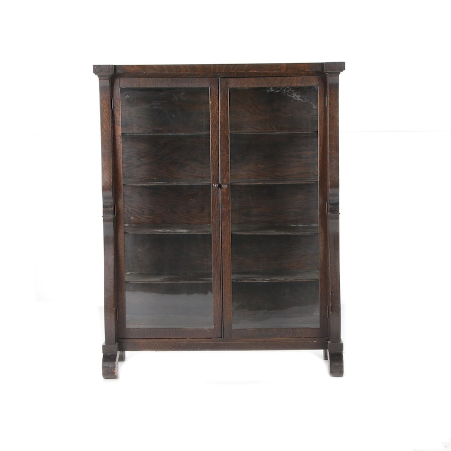 Empire Style Oak Display Cabinet, Early 20th Century