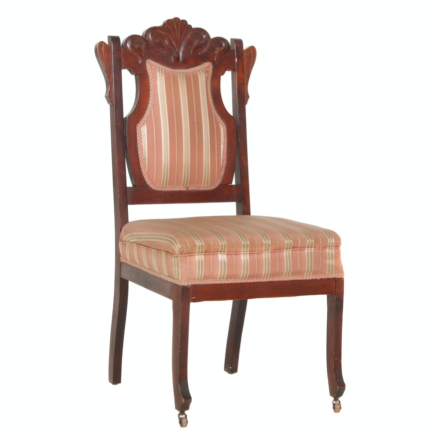 Victorian, Eastlake Style Mahogany-Stained Side Chair, Late 19th / Early 20th C.