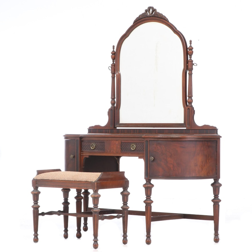 Edwardian Walnut Vanity Table with Mirror and Stool, Early 20th Century