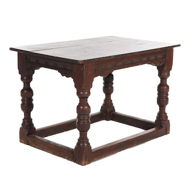 Jacobean Style Joined Oak Table, 19th Century