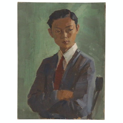 Edmond James Fitzgerald Oil Portrait of Man, Mid-Late 20th Century