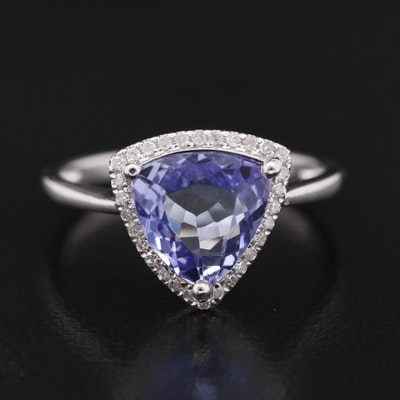 14K Triangular Faceted Tanzanite and Diamond Halo Ring