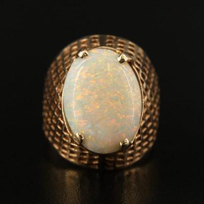 14K Opal Latticework Ring