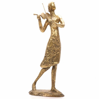 Woman Playing Violin Cast Bronze Sculpture