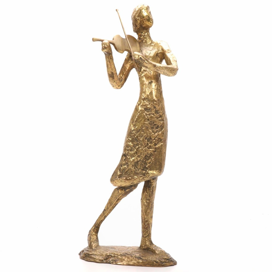 Woman Playing Violin Cast Bronze Sculpture