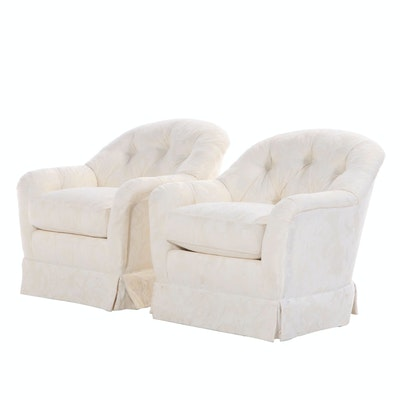 Pair of Sherrill Button-Tufted Swivel-Tilt Easy Armchairs, Late 20th Century