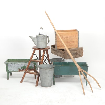 Watering Can, Buckets, Planters, Wooden Crates, Stool, and Other Gardening Décor