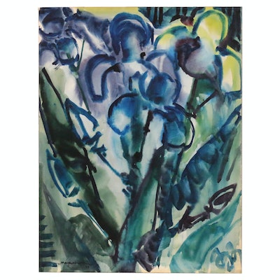 Jack Meanwell Abstract Still Life Watercolor Painting, 1977