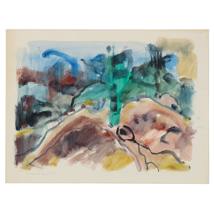 Jack Meanwell Abstract Landscape Watercolor Painting, 1982