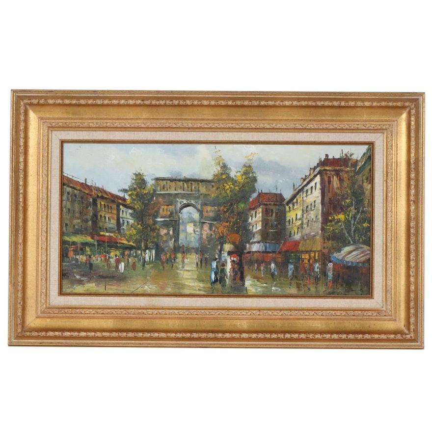 European Street Scene Oil Painting, Mid to Late 20th Century