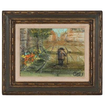 Etta Benjamin Cien Street Scene Oil Painting, Mid 20th Century