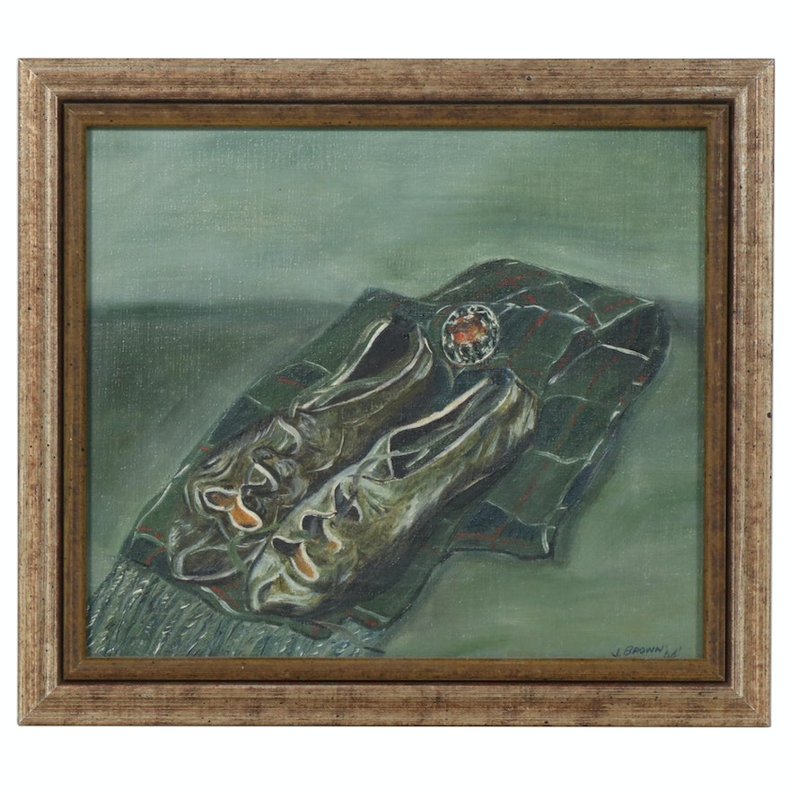 Still Life Acrylic Painting with Shoes and Scarf, 1966
