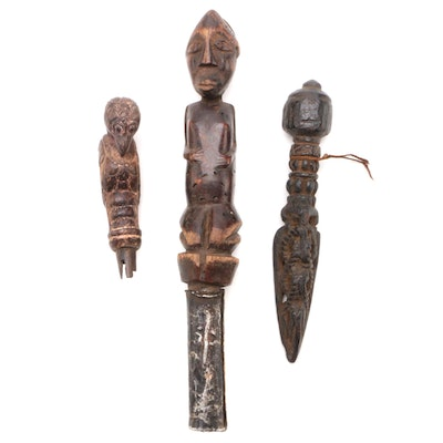 West African Hand-Carved Wooden Figures