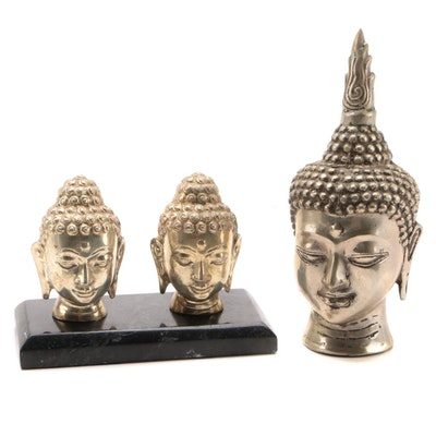 Thai Sukhothai Style Buddha Bust and Smaller Busts with Marble Base