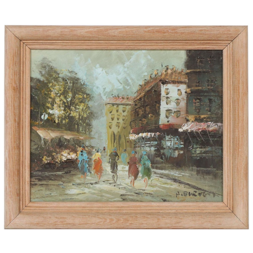 Impressionist Style European Street Scene Oil Painting