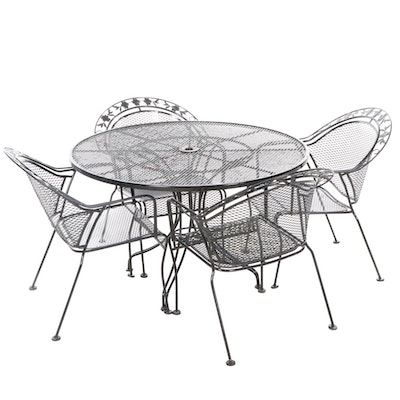 Five Piece Outdoor Metal Mesh Dining Table and Chairs