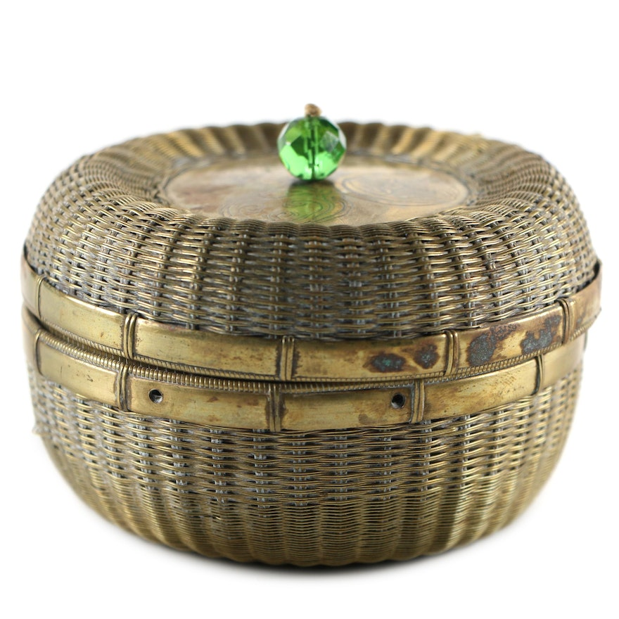 Chinese Brass Woven Sewing Basket with Glass Bead Knob, Mid-20th Century