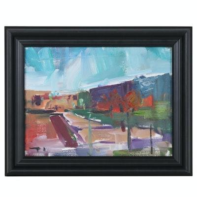 "Jose Trujillo Oil Painting ""Urban Desert"", 2019"
