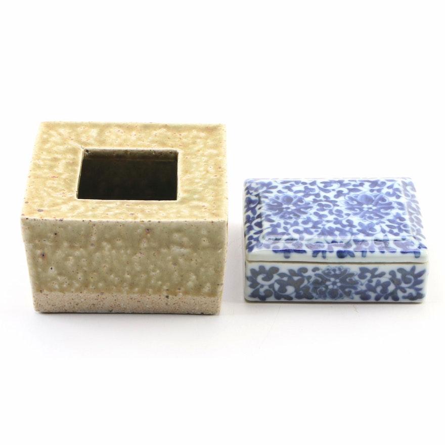 Ceramic Blue and White Floral Motif Trinket Box with Salt Glaze Pottery Votive